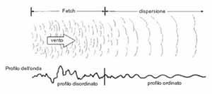 in evidenza, l'area di fetch e l'area di dispersione esterna, che evidenzia i cambiamenti di profilo delle onde. Da: Invitation to Oceanography di Paul R. Pinet. Modificato.